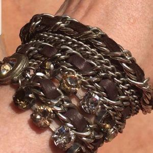 La Hola leather silver & Swarovski wrap bracelet